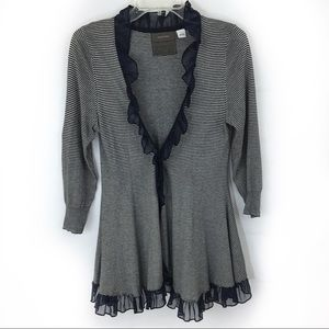 Anthro Guinevere Striped Ruffle Cardigan